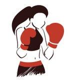 Símbolo de la mujer del boxeo Imagenes de archivo