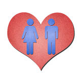 Símbolo de la mujer del hombre con el corazón Foto de archivo libre de regalías