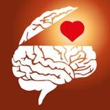 Símbolo de la oposición entre el amor y la razón en hombres y mujeres stock de ilustración