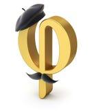 Símbolo de la phi de la sección de oro con la boina y el bigote franceses libre illustration