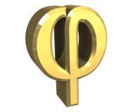 Símbolo de la phi en el oro (3d) Fotografía de archivo