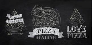Símbolo de la pizza. Tiza. Imágenes de archivo libres de regalías