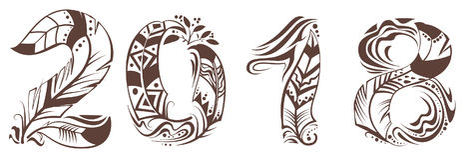 símbolo de la pluma de pájaro de 2018 años Fotografía de archivo libre de regalías