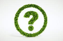 Símbolo de la pregunta de la ecología con el fondo blanco Imagenes de archivo