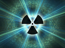 Símbolo de la radiación nuclear Fotos de archivo