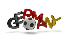 Símbolo de la representación del fútbol 3d del fútbol de Alemania con el balón de fútbol Fotos de archivo