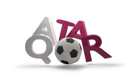 Símbolo de la representación del fútbol 3d del fútbol de Qatar con el balón de fútbol Imágenes de archivo libres de regalías