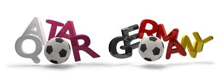 Símbolo de la representación del fútbol 3d del fútbol de Qatar y de Alemania con el socce Imágenes de archivo libres de regalías