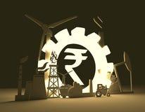 Símbolo de la rupia india e iconos industriales Foto de archivo libre de regalías