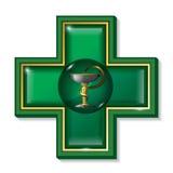 Símbolo de la serpiente de la medicina, cruz Muestra de los servicios médicos, símbolo Foto de archivo libre de regalías