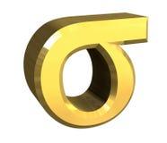 Símbolo de la sigma en el oro (3d) Foto de archivo libre de regalías