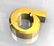 Símbolo de la sigma en el oro (3d) Imagen de archivo libre de regalías