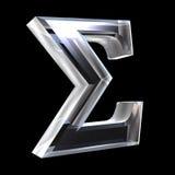 Símbolo de la sigma en el vidrio (3d) Imagen de archivo