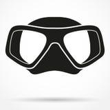 Símbolo de la silueta de la máscara subacuática del equipo de submarinismo del salto Fotografía de archivo