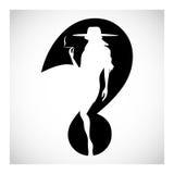 Símbolo de la silueta de la mujer del signo de interrogación que fuma aislado en negro Foto de archivo