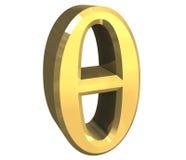 Símbolo de la theta en el oro (3d) Fotos de archivo libres de regalías