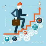 Símbolo de las escaleras de Goes Success Infographic del hombre de negocios Imagen de archivo