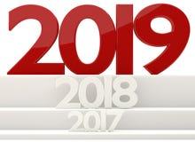 símbolo de 2019 letras corajoso 3d-illustration do ano novo ilustração stock