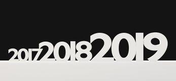 símbolo de 2019 letras corajoso 3d-illustration do ano novo ilustração royalty free