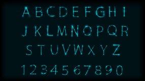 Símbolo de letras de néon do ABC typeset Projete o alfabeto romano e os números com efeito de néon Ilustração do vetor Imagem de Stock Royalty Free