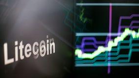 Símbolo de Litecoin Cryptocurrency O comportamento das trocas do cryptocurrency, conceito Tecnologias financeiras modernas ilustração stock