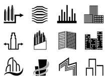 Símbolo de los edificios de las propiedades inmobiliarias y de la ciudad Foto de archivo