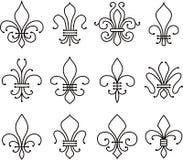 Símbolo de los elementos de la voluta de la flor de lis stock de ilustración