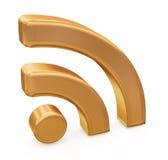 Símbolo de los rss del oro Imágenes de archivo libres de regalías