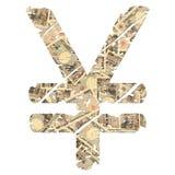 Símbolo de los Yenes de Grunge con el dinero en circulación Fotografía de archivo