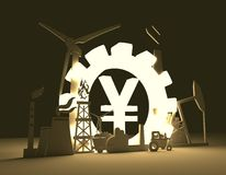 Símbolo de los yenes e iconos industriales Imágenes de archivo libres de regalías