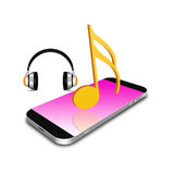 Símbolo de música con el smartphone, ejemplo del teléfono celular Imagenes de archivo