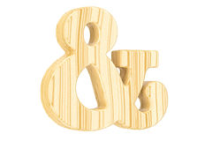 Símbolo de madeira do ampersand, rendição 3D Imagem de Stock Royalty Free