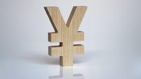 Símbolo de madeira dos ienes em um fundo branco Imagens de Stock Royalty Free