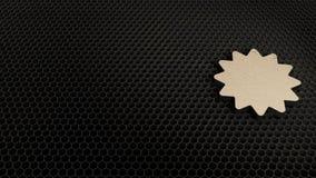 s?mbolo de madera 3d del icono de la insignia del certificado rendir stock de ilustración