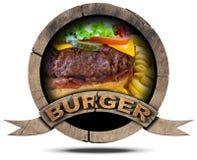Símbolo de madera de la hamburguesa Imagen de archivo libre de regalías