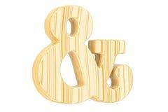 Símbolo de madera del signo '&', representación 3D Imagen de archivo libre de regalías
