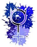 Símbolo de Mercury do planeta feito com os pontos no azul isolado ilustração royalty free