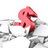 Símbolo de moeda crescente do dólar para fora do furo da quebra Fotografia de Stock