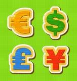 Símbolo de moeda de uma textura de madeira Foto de Stock Royalty Free