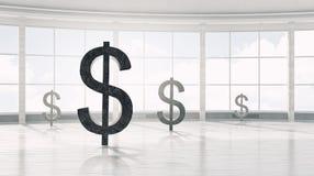 Símbolo de moeda do dólar 3d rendem Fotografia de Stock Royalty Free
