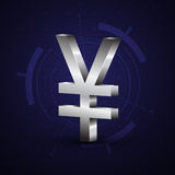 símbolo de moeda dos ienes de 3d japão Imagem de Stock Royalty Free
