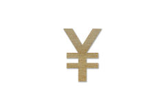 Símbolo de moeda dos ienes feito da madeira isolada no fundo branco Fotos de Stock
