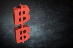 Símbolo de moeda vermelho de Bitcoin com reflexão de espelho em Dusty Background escuro ilustração do vetor