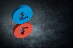 Símbolo de moeda vermelho e azul de Litecoin com reflexão de espelho em Dusty Background escuro ilustração stock