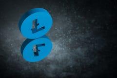 Símbolo de moneda azul de Litecoin en la reflexión de espejo en Dusty Background oscuro ilustración del vector