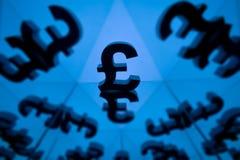Símbolo de moneda británico con muchas imágenes que duplican foto de archivo