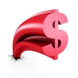 Símbolo de moneda cada vez mayor del dólar hacia fuera del agujero de la grieta Imagen de archivo libre de regalías