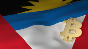 Símbolo de moneda de Bitcoin en la bandera de Antigua y de Barbuda Fotos de archivo