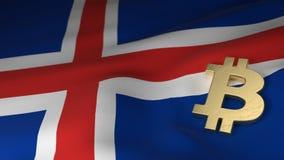 Símbolo de moneda de Bitcoin en la bandera de Islandia fotos de archivo libres de regalías