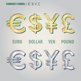 Símbolo de moneda de los yenes y de la libra euro Vecto del dólar Imágenes de archivo libres de regalías